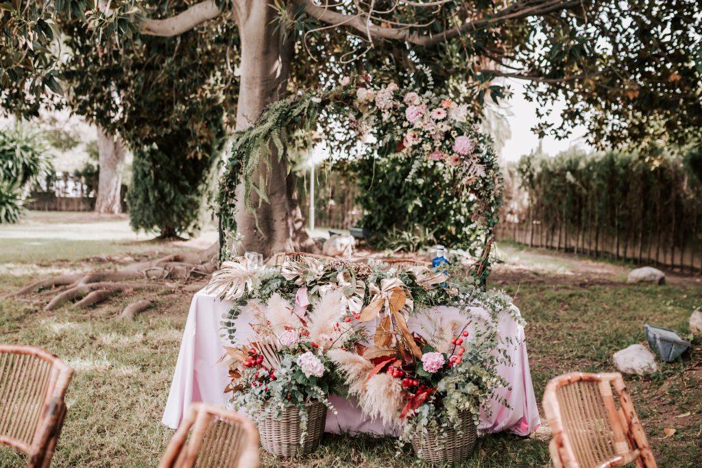 decoración mesa de novios en la hacienda de novelda